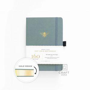 GE307 notes w kropki, złote brzegiA5 Vintage Bee With Gold Edges Dot Grid Notebook
