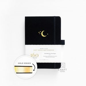 GE308 notes w kropki A5 Crescent Moon With Gold Edges Dot Grid Notebook